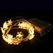 Warm White Sunflower 7ft 2M 20 LED Copper String Fariy Light Battery Powered 5pcs